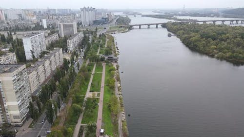 Dnipro River Near Kyiv City, Ukraine Aerial View. Dnieper, Kiev
