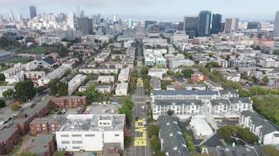 Aerial Black Lives Matter street sign with San Francisco Skyline