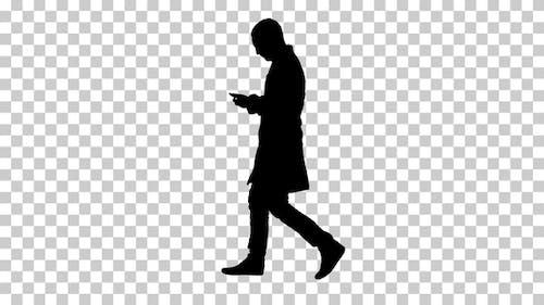 Silhouette  Doctor walking , Alpha Channel