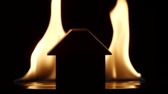 Thumbnail for Silhouette Of A House On A Flaming Background - Slow motion