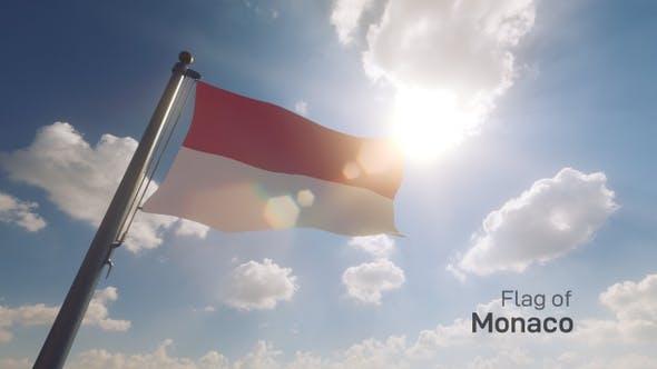 Thumbnail for Monaco Flag on a Flagpole V2
