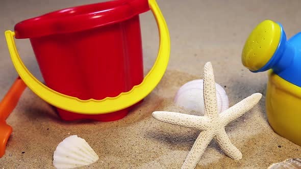 Children's Toys on the Sea Sand