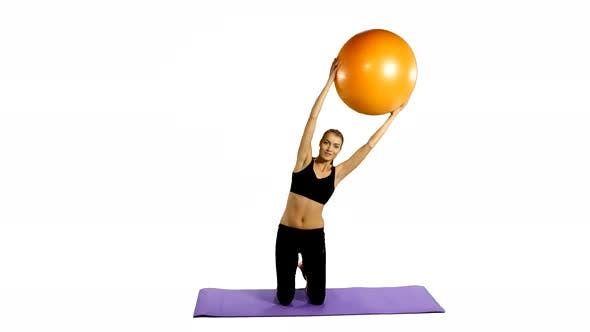 Thumbnail for Fitness Girl Doing Fitness Exercise, Fitness-ball, Gym White Background