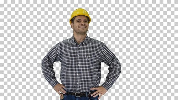 Thumbnail for Smiling Construction Worker in Yellow Helmet Looking at Perfect