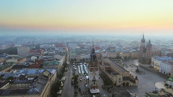 Thumbnail for Aerial View of Krakow Historic Market Square, Poland, Central Europe at Morning
