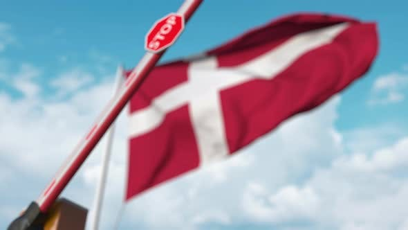 Thumbnail for Closed Boom Gate on the Danish Flag Background