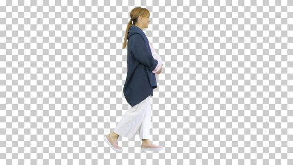 Thumbnail for Happy pregnant blonde lady walking, Alpha Channel