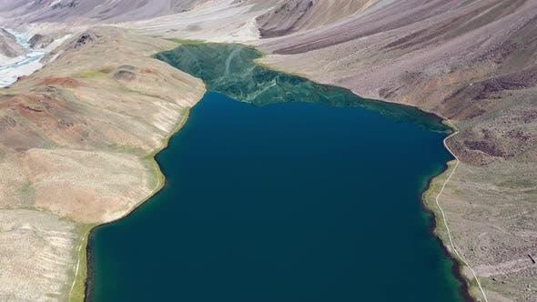 Beautiful Aerial Shot Revealing Chandratal Lake , Spiti Valley , Cinematic Dolly Shot , Moon Lake