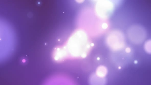 Thumbnail for Animation of glowing white spots of light moving in hypnotic motion on purple background