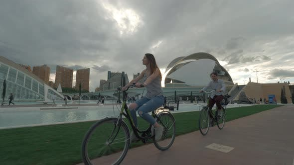 Bike ride near City of Arts and Sciences in Valencia, Spain
