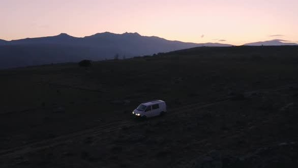 Thumbnail for Offroad Camping Van with Solar Panel at Sunset