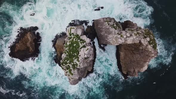Thumbnail for Aerial View of Reefs and Cliffs After Dawn on Arnia Beach. Northern Spain in Summer