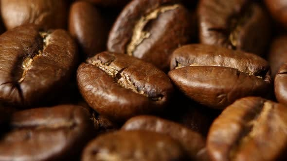 Thumbnail for Roasted Coffee Beans on a Table. Rotating. Close Up