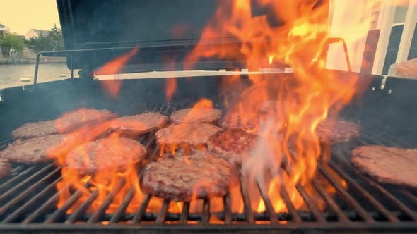American Barbecue Food on Hot Grill with Fire