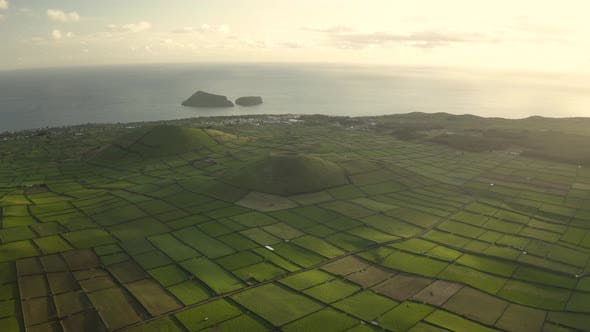 Aerial view of two volcano with plantation field on Terceira Island