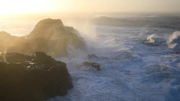 Thumbnail for Storm Waves at Cape Dyrholaey in Iceland. Stormy Sunrise.