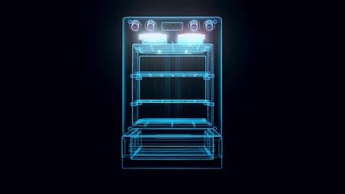 Moderner Haushalt Küche Ofen Hologramm 4k