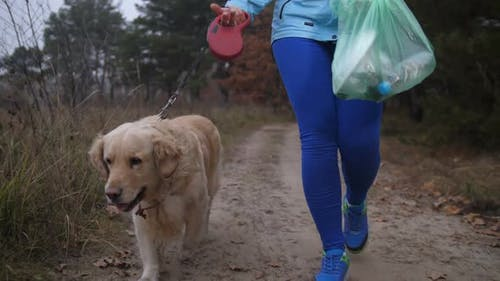 Fit Female Cleaning Up Litter in Forest During Jog