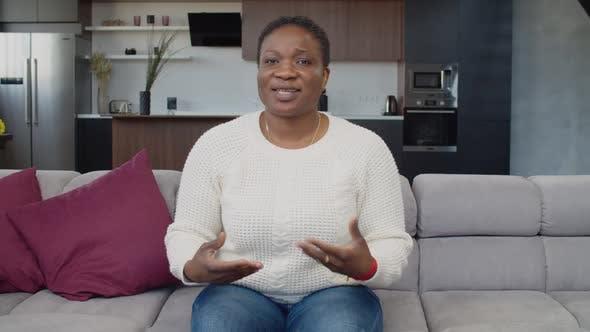 Confident Black Female Holding Online Job Interview