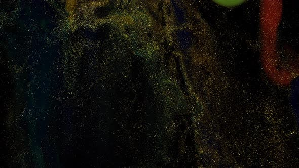 Golden Rivers with Swirls on a Black Moving Background