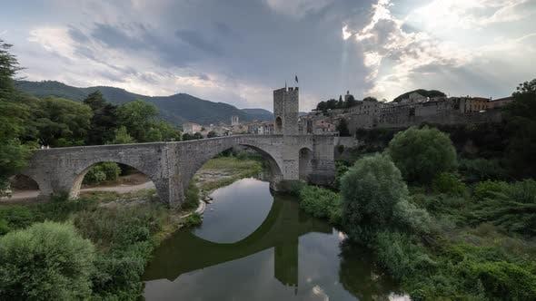 The Bridge and River Fluvia at Besalu Girona Catalonia Spain