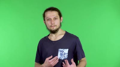 Portrait of a Man on a Green Screen