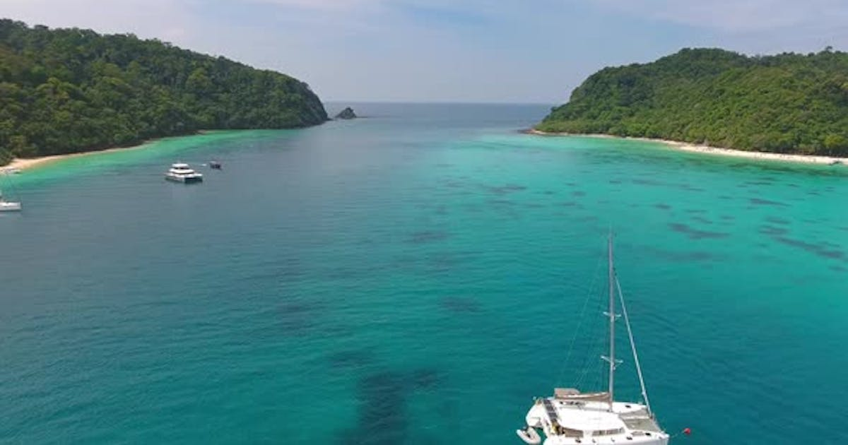 Aerial Video of Beach, Corals and Sea on Island