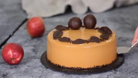 Thumbnail for Delicious Caramel Apple Mousse Cake with Mirror Glaze
