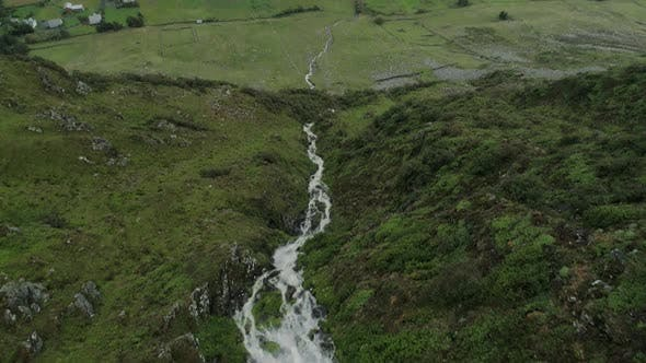 Aerial View of the Mountain Stream in Hoddevik
