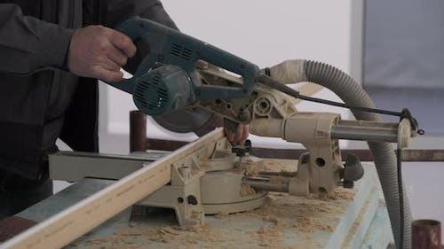 Cutting Wooden Molding on a Circular