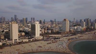 Aerial view of Tel Aviv coastline city, Israel. 4K