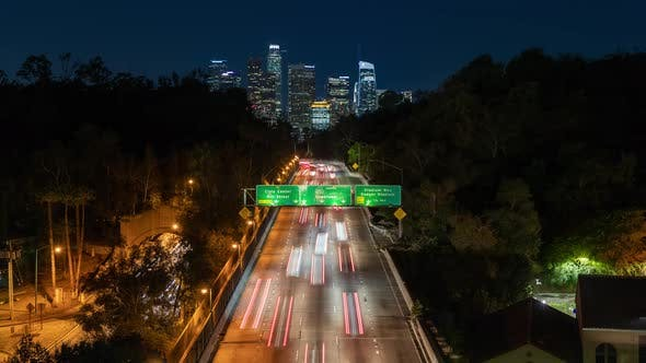 Thumbnail for Los Angeles Nightlife. Busy City Highway at Night. Time Lapse Video