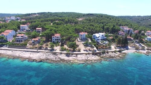 Flying over a peaceful Dalmatian tourist resort