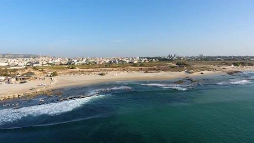 Aerial footage of the seashore