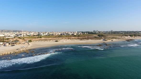 Thumbnail for Aerial footage of the seashore