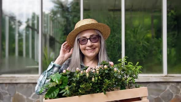 Thumbnail for Woman in Glasses and Hat Holding in Her Hands Box with Flowerpots Standing on Hothouse Background