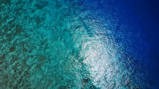 Thumbnail for Wide birds eye tourism shot of a paradise sunny white sand beach and turquoise sea background in col