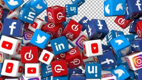 Social Media Icons Transition - Facebook, Linkedin, Twitter, Youtube, Instagram and Pinterest