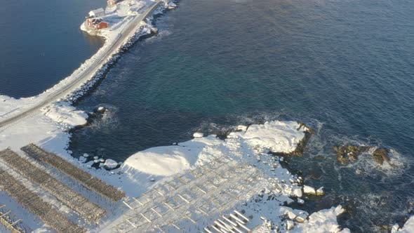 Winter Lofoten Shore Aerial View 6