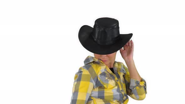 Thumbnail for Young Cowgirl Dancing on White Background.