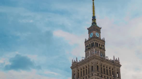 Cover Image for Time Lapse of the Spire of Palace of Culture and Science, Historic High-rise Building in the Centre
