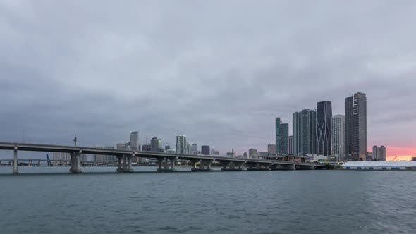 Thumbnail for Miami Downtown Urban Skyline, MacArthur Causeway and Bay at Sunset
