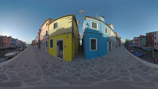 Thumbnail for 360 VR Quiet Burano Street Along the Canal. View with Traditional Painted Houses