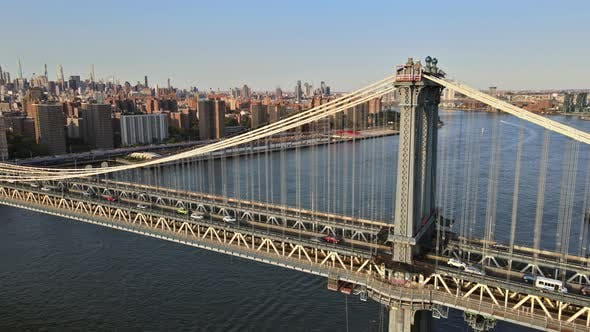 New York Side View of Manhattan Bridge in the Buildings of New York City