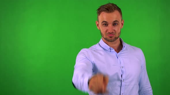 Thumbnail for Young Handsome Business Man Points To Camera with Finger - Green Screen - Studio