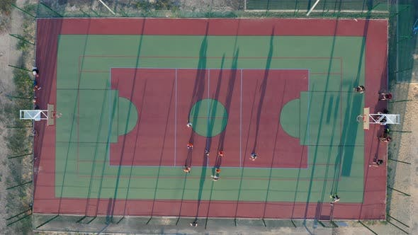 Thumbnail for Aerial View. Park with a Basketball Field and a Training Platform. Sports Area.