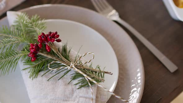 Thumbnail for Decorated Linen Napkin on Plate on Christmas Table