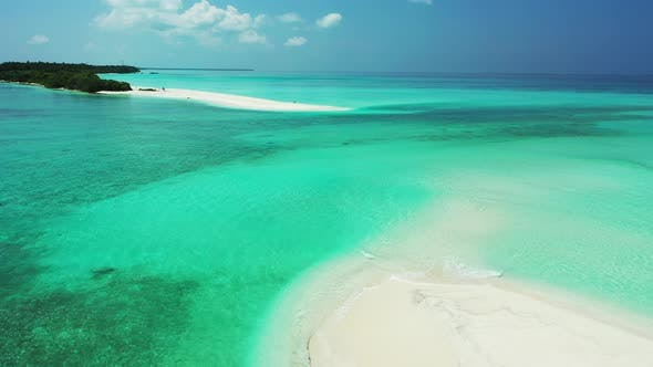 Thumbnail for Wide aerial copy space shot of a white sandy paradise beach and aqua blue water background