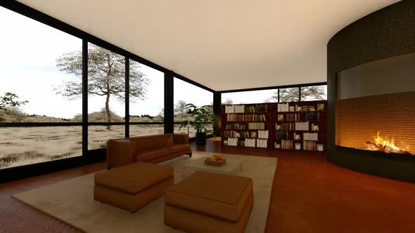 Modern Living Room With Fireplace And a View Of Nature
