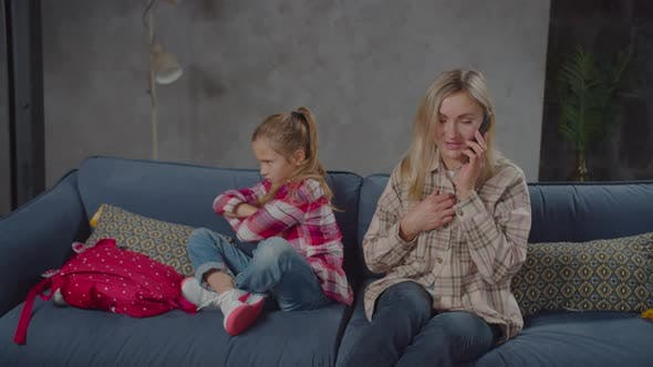 Thumbnail for Busy with Phone Mother Ignoring Upset Girl Indoor